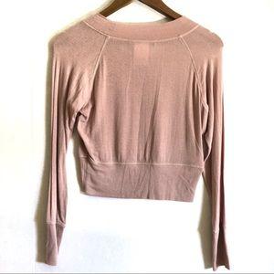 BCBGMaxAzria Tops - BCBGMaxAzria Blush Long Sleeve Crop Top
